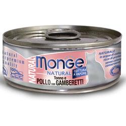 Monge Cat Natural консервы для кошек тунец с курицей и креветками
