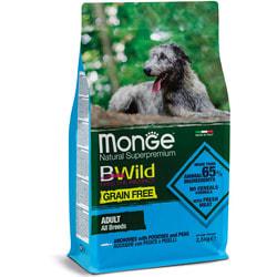 Monge Dog BWild GRAIN FREE беззерновой корм для собак всех пород анчоусы c картофелем и горохом