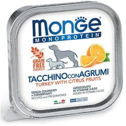 Monge Dog Monoprotein Fruits консервы для собак паштет из индейки с рисом и цитрусовыми