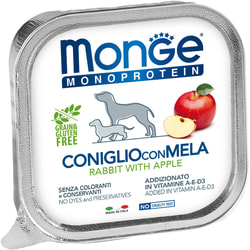 Консервы Monge Monoprotein Dog Fruits для собак паштет из кролика с яблоками