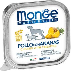 Консервы Monge Monoprotein Dog Fruits для собак паштет из курицы с ананасом