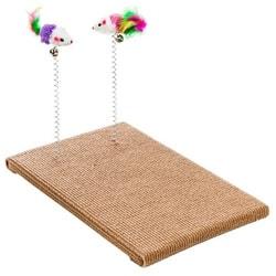 Антицарапки Когтеточка из ковролина с 2 игрушками на пружинках