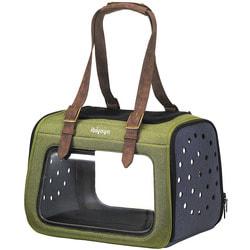 Ibiyaya Складная сумка-переноска для собак и кошек до 6 кг прозрачная/зеленая