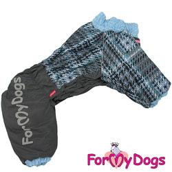 ForMyDogs Теплый комбинезон для больших собак Серо/голубой на мальчика