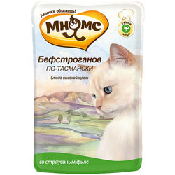 Мнямс Паучи для кошек Бефстроганов по-тасмански (с мясом страуса)