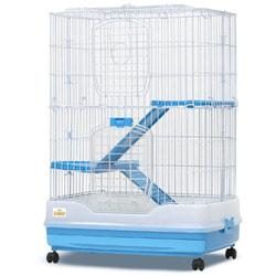 Kredo Клетка для грызунов кроликов, шиншилл и хорьков на колёсах, 2-х секционная