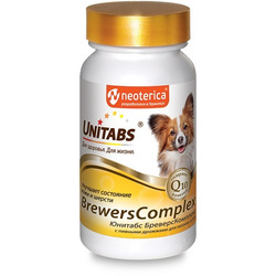 Unitabs BreversComplex с Q10 Витамины для собак мелких пород с пивными дрожжами