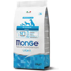 Monge Dog Speciality Light корм для собак всех пород низкоколорийный лосось с рисом