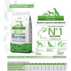 Monge Dog Speciality корм для взрослых собак всех пород кролик с рисом и картофелем