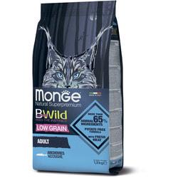 Сухой корм Monge Bwild Cat Anchovies корм для взрослых кошек с анчоусам