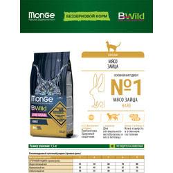 Monge Bwild Cat Hare корм для взрослых кошек с мясом зайца