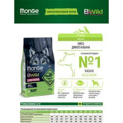 Сухой корм Monge Bwild Dog LOW GRAIN Boar для взрослых собак всех пород с мясом дикого кабана