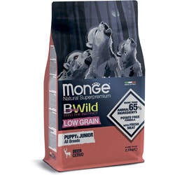 Сухой корм Monge BWild LOW GRAIN Puppy + junior низкозерновой корм из мяса оленя для щенков всех пород