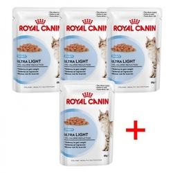 Royal Canin Набор 3+1 Ultra Light пауч для кошек, склонных к полноте кусочки в соусе Мясо