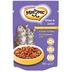 Мнямс Паучи с курицей в соусе для котят, рост и развитие котят