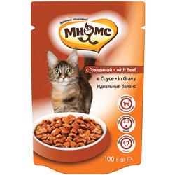 Мнямс Паучи с говядиной в соусе для кошек, идеальный баланс
