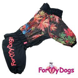 ForMyDogs Комбинезон для больших собак на флисе Листья черный, мальчик