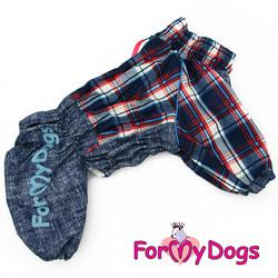 """ForMyDogs Комбинезон для больших собак """"Джинса"""" синий на мальчика"""