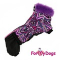 ForMyDogs Теплый комбинезон для такс, фиолетовый на девочку