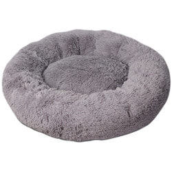 Lion Лежак Пончик (Donut) Серый со съемным чехлом для крупных собак
