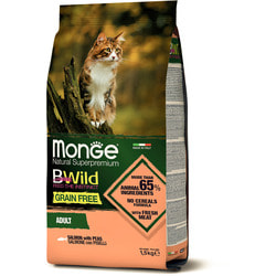 Сухой корм Monge BWild cat grain free для взрослых кошек беззерновой из лосося и гороха