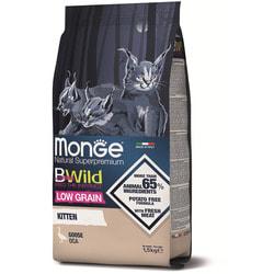 Сухой корм Monge BWild LOW GRAIN Kitten низкозерновой корм из мяса гуся для котят