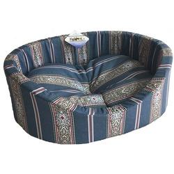 Бобровый дворик Лежак овальный с бортиком для собак и кошек Синяя полоска
