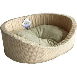 Бобровый дворик Лежак овальный с бортиком для собак и кошек Вязка светлая