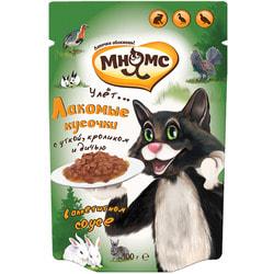 Мнямс Пауч для взрослых кошек Пир охотника (утка, кролик, дичь)
