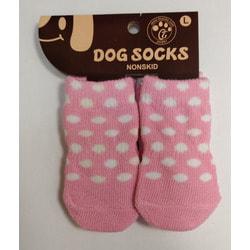 Антицарапки Носки для собак Розовые в белых горох