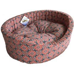 Бобровый дворик Лежак овальный с бортиком для собак и кошек Султан красный