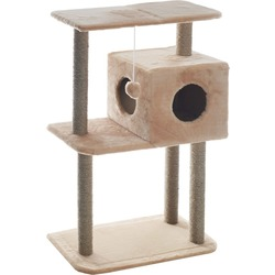 Smartpet Домик когтеточка для кошек с квадратным домиком и верхней полкой, 65х36х105см