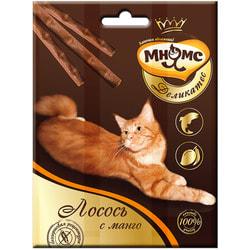 Мнямс Деликатес лакомые палочки 9 см для кошек с лососем и манго
