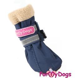 ForMyDogs Сапоги для собак на неопреновой подошве с флисом синие