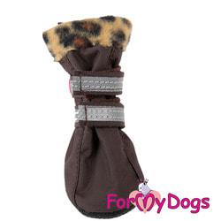 ForMyDogs Сапоги для собак на флисе Лео кофе, на подошве ПВХ