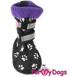 ForMyDogs Сапоги для собак на резиновой подошве с флисом Лапки черные