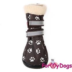 ForMyDogs Сапоги для собак на резиновой подошве с флисом Лапки кофе