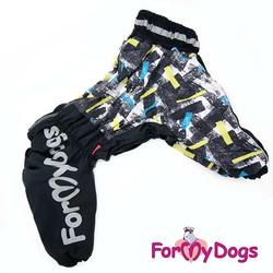 ForMyDogs Комбинезон для больших собак на меху черный, мальчик