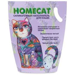 Homecat Силикагелевый наполнитель для кошачьих туалетов с ароматом лаванды