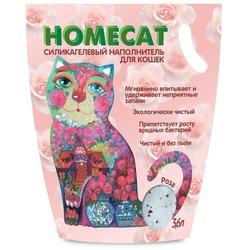 Homecat Силикагелевый наполнитель для кошачьих туалетов с ароматом розы
