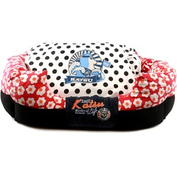 Katsu Лежак - диван Цветочное счастье для собак и кошек красный