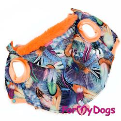 ForMyDogs Куртка для крупных собак Перышки со съемным капюшоном