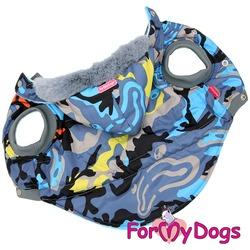 ForMyDogs Куртка для крупных собак Камуфляж серо-голубой со съемным капюшоном