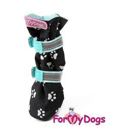 ForMyDogs Обувь для собак высокая на неопреновой подошве Лапки черные