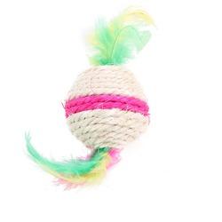 Smartpet Игрушка для кошек Сизалевый мячик с перышками