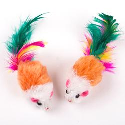 Антицарапки Игрушка для кошек Мышка-погремушка цветная с перьями