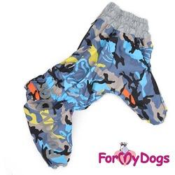 ForMyDogs Теплый комбинезон на крупных собак на флисе Камуфляж серый на мальчика