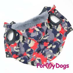 ForMyDogs Куртка для крупных собак с капюшоном Камуфляж серо-красный