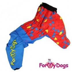 ForMyDogs Комбинезон для больших собак на меху Красно-Синий, мальчик
