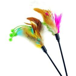 Антицарапки Игрушка для кошек Дразнилка с перьями и 4-мя белыми хвостиками